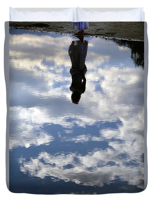 Woman Duvet Cover featuring the photograph Girl And The Sky by Joana Kruse