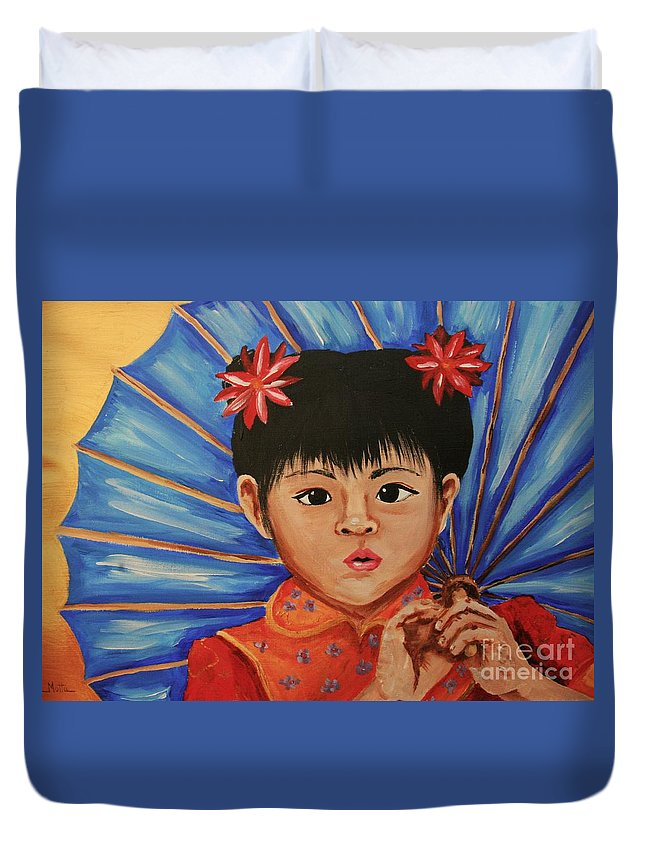 Chinese Duvet Cover featuring the painting Girl And Umbrella by Cris Motta