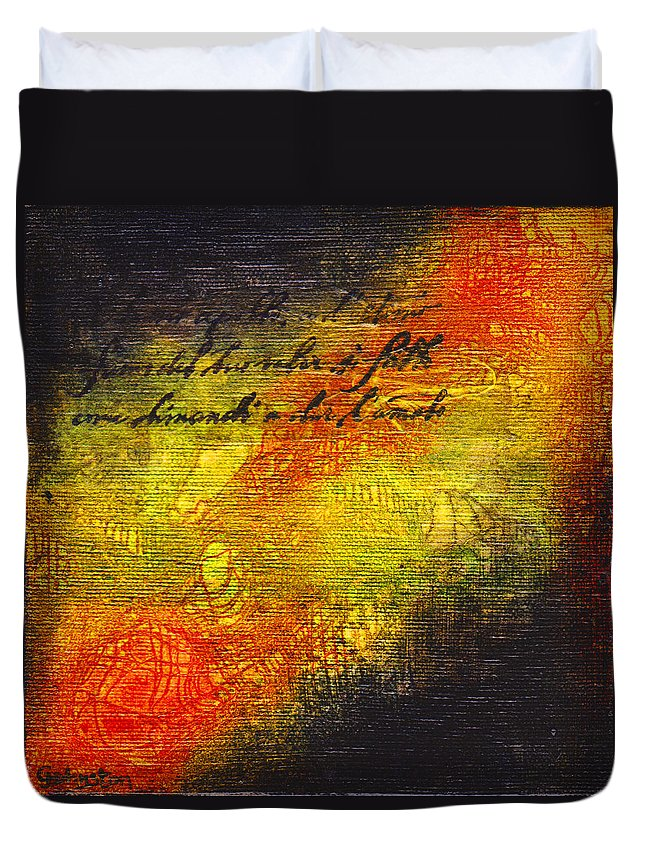 Latin Duvet Cover featuring the mixed media Give Me Strength 1 by Cindy Johnston