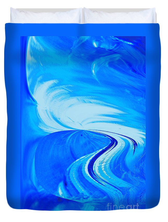 Abstract Photography Duvet Cover featuring the photograph Glassworks In Blue by Regina Geoghan