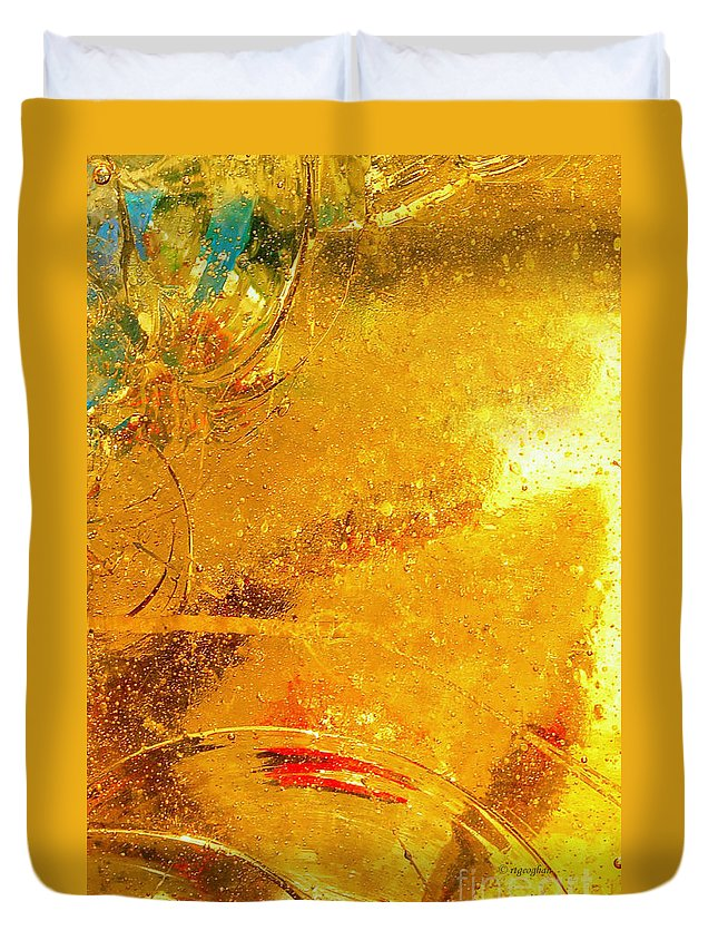 Abstract Photography Duvet Cover featuring the photograph Glassworks Series-gold I by Regina Geoghan