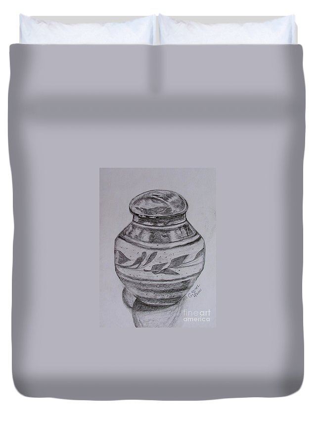 Still Life Duvet Cover featuring the painting Glazed Tea Caddy by Caroline Street