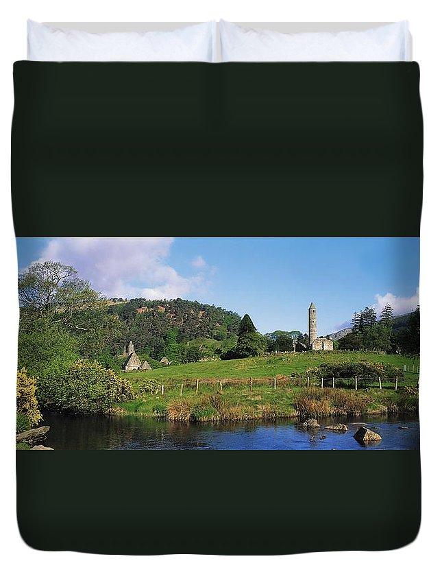 Co Wicklow Duvet Cover featuring the photograph Glendalough, Co Wicklow, Ireland Saint by The Irish Image Collection