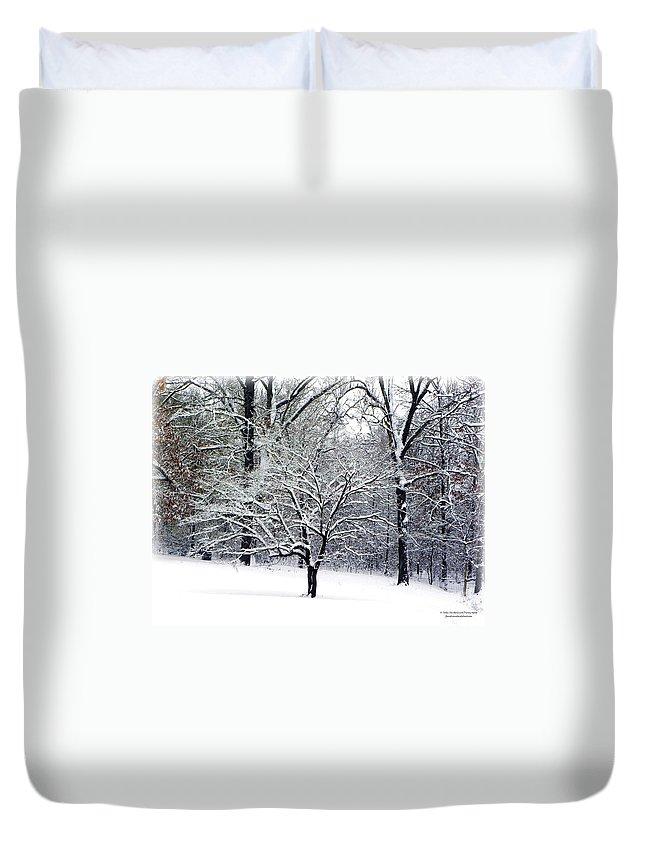 Dogwood Tree Duvet Cover featuring the photograph Glenna's Dogwood In The Snow by Tisha Clinkenbeard