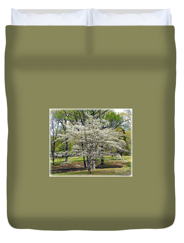 Dogwood Tree Duvet Cover featuring the photograph Glenna's Dogwood In The Spring by Tisha Clinkenbeard