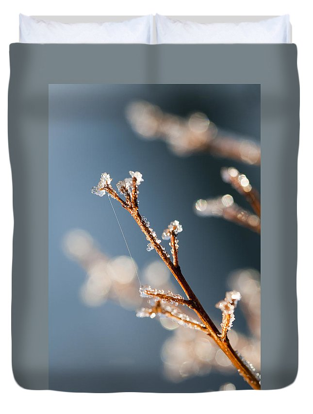 Ice Duvet Cover featuring the photograph Glistening Ice Crystals by Kathy Clark