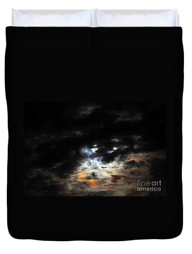 Moon Duvet Cover featuring the photograph Glorious Gibbous - Wide Version by Al Powell Photography USA