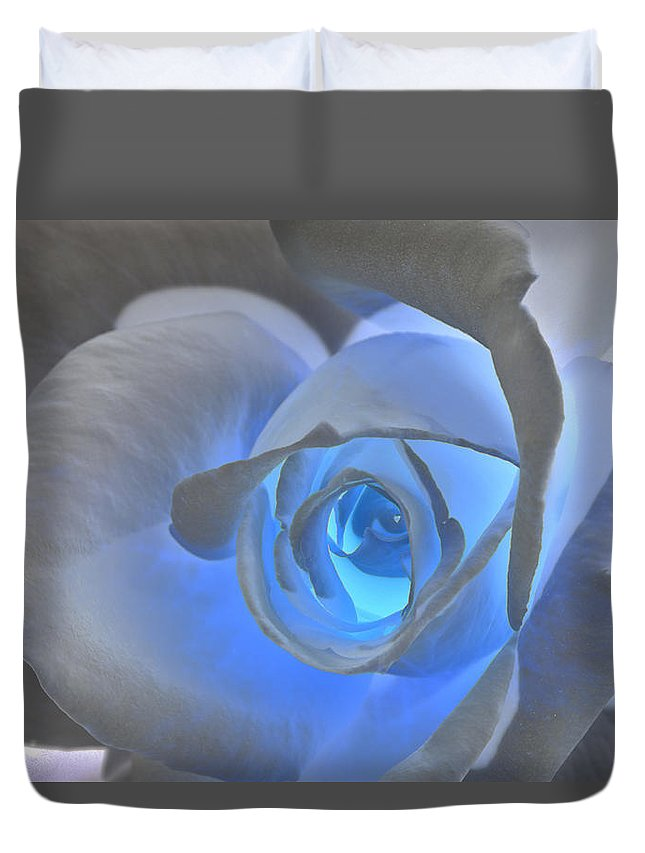 Rose Duvet Cover featuring the photograph Glowing Blue Rose by Phyllis Denton
