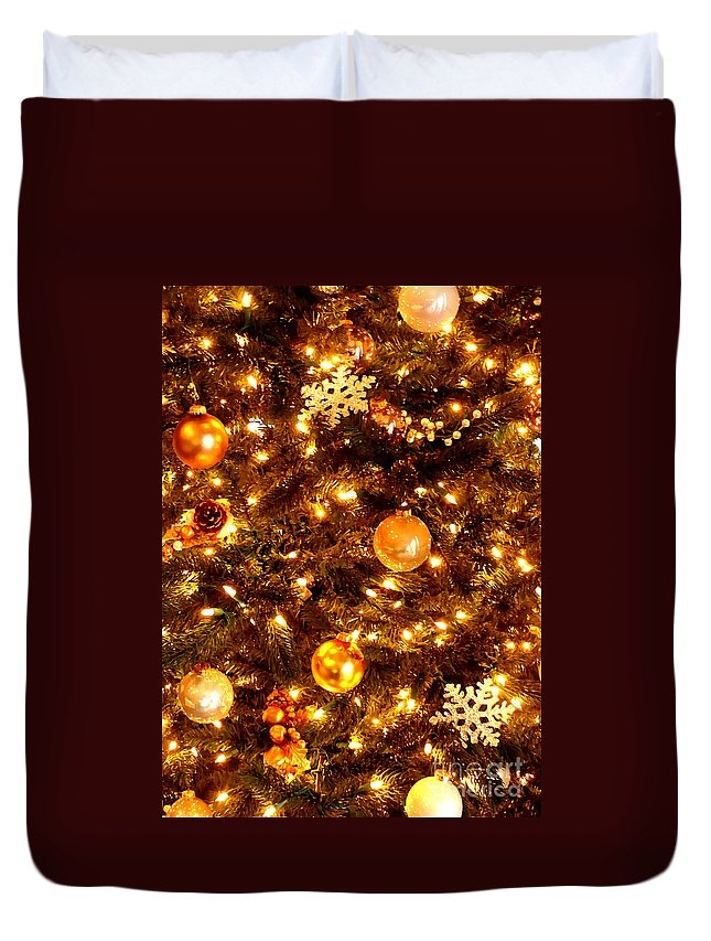 Christmas Duvet Cover featuring the photograph Glowing Golden Christmas Tree by Carol Groenen