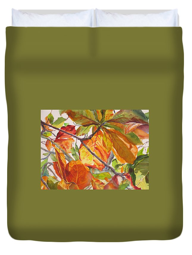 Leaves Duvet Cover featuring the painting Glowing by Mohamed Hirji