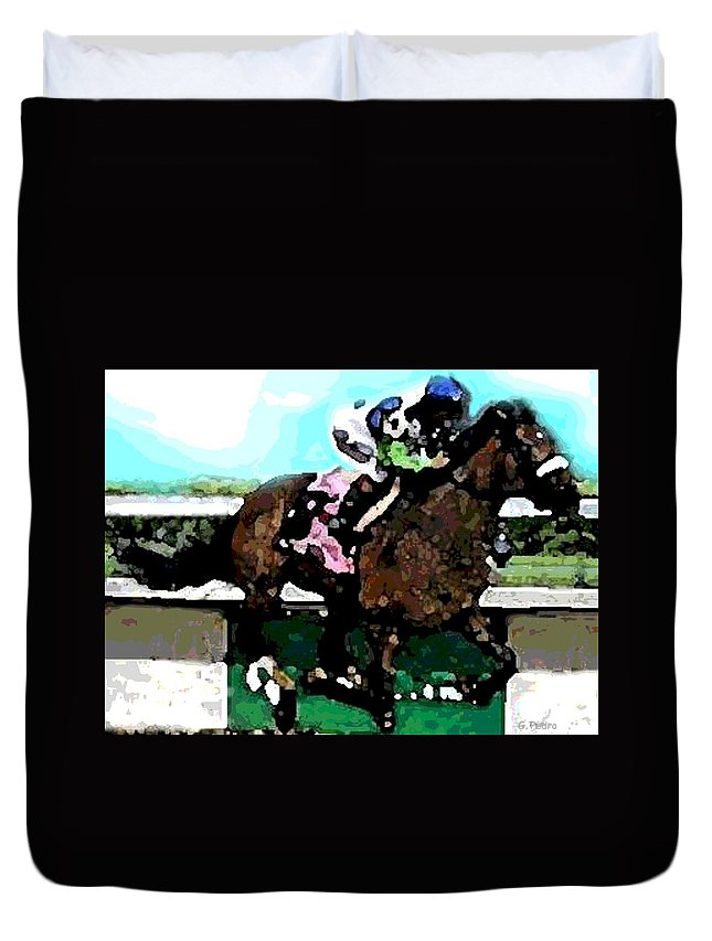 Race Horse Duvet Cover featuring the painting Going For The Win by George Pedro