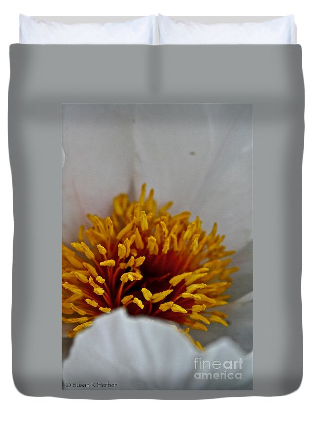 Plant Duvet Cover featuring the photograph Gold Stamen by Susan Herber