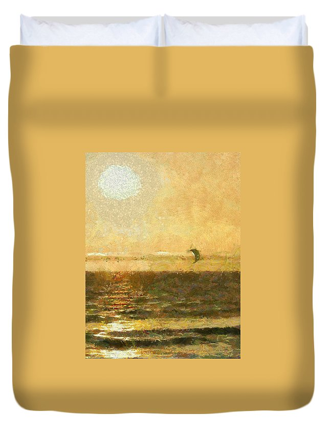 Golden Day Painterly Duvet Cover featuring the digital art Golden Day Painterly by Ernie Echols