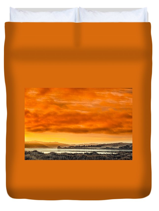 Humboldt Bay Duvet Cover featuring the photograph Golden Morning Over Humboldt Bay by Greg Nyquist