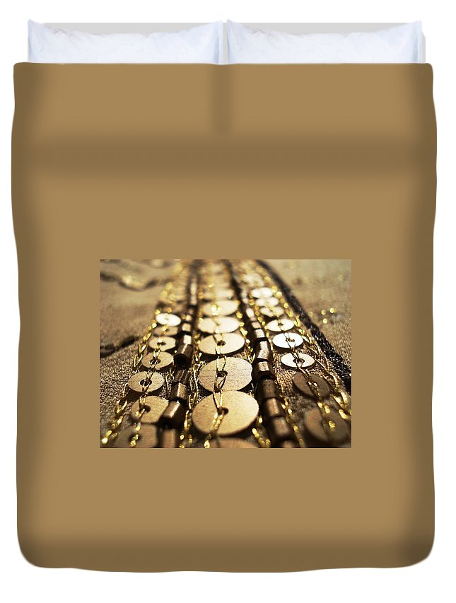 Blossoming Duvet Cover featuring the photograph Golden Sequins Highway by Sumit Mehndiratta