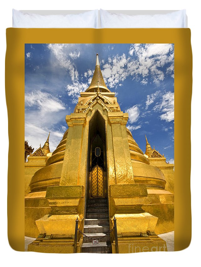 Golden Stupa Duvet Cover featuring the photograph Golden Stupa Front View Bangkok by Charuhas Images