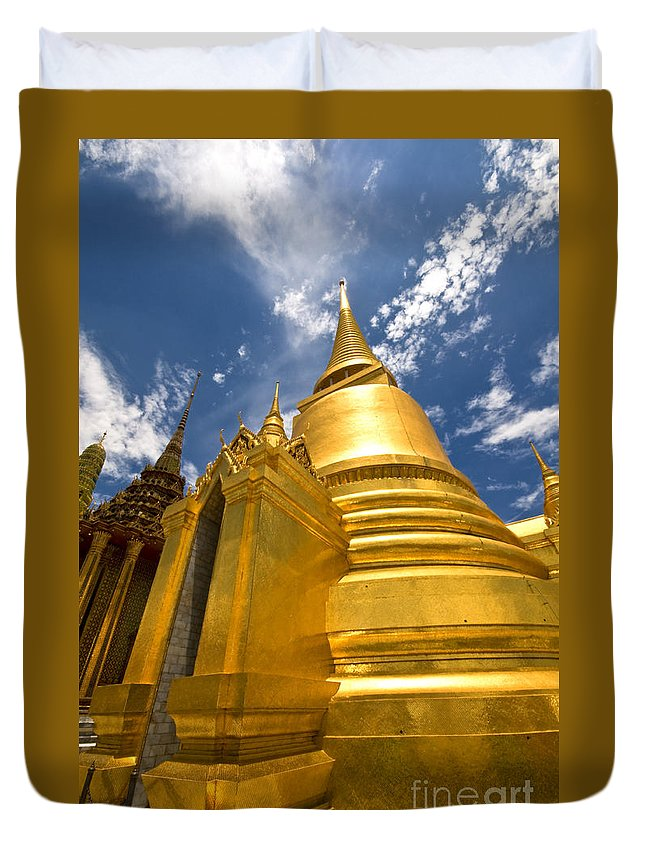 Stupa Duvet Cover featuring the photograph Golden Stupa In Grand Palace Bangkok by Charuhas Images