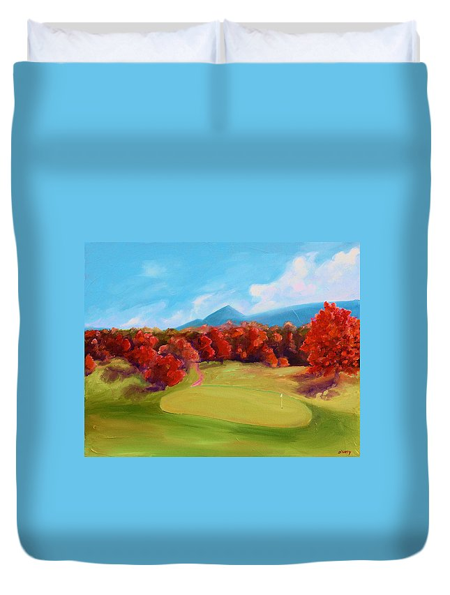 Golf Duvet Cover featuring the painting Golf Course In The Fall 2 by Todd Bandy