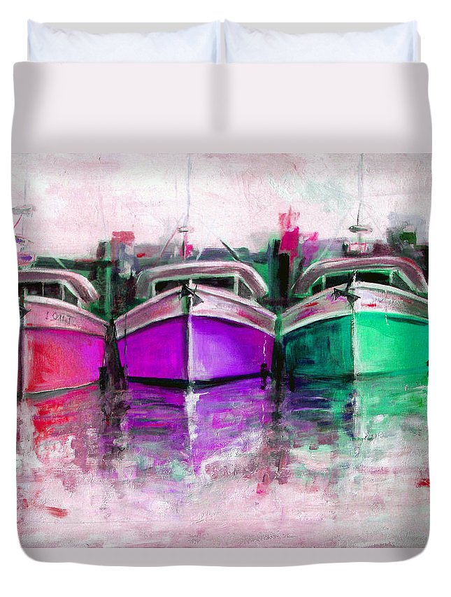 Original Art Duvet Cover featuring the painting Gone Home 2 by Giro Tavitian