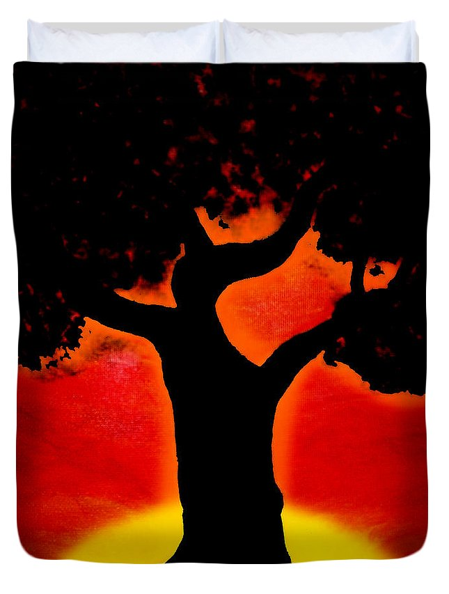 Tree Duvet Cover featuring the painting Gone With The Sunset by Ivy Studios