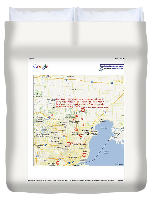 Map Duvet Cover featuring the photograph Google Maps by Michael Peychich