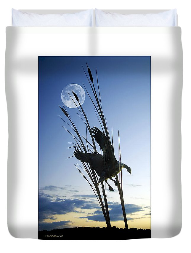 2d Duvet Cover featuring the photograph Goose At Dusk by Brian Wallace