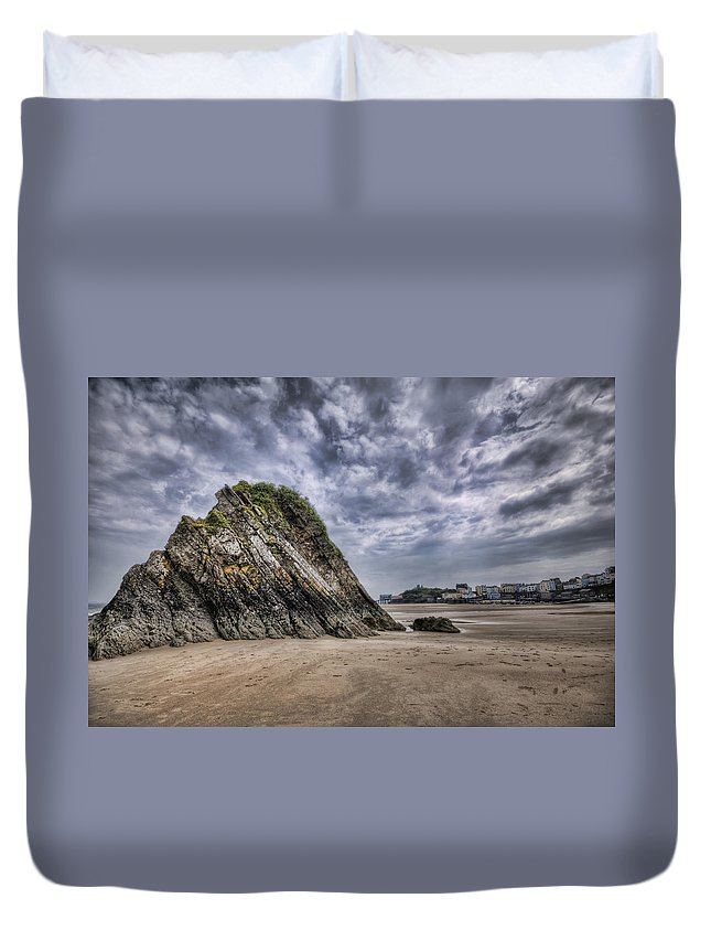 Goscar Rock Tenby Duvet Cover featuring the photograph Goscar Rock Tenby 2 by Steve Purnell