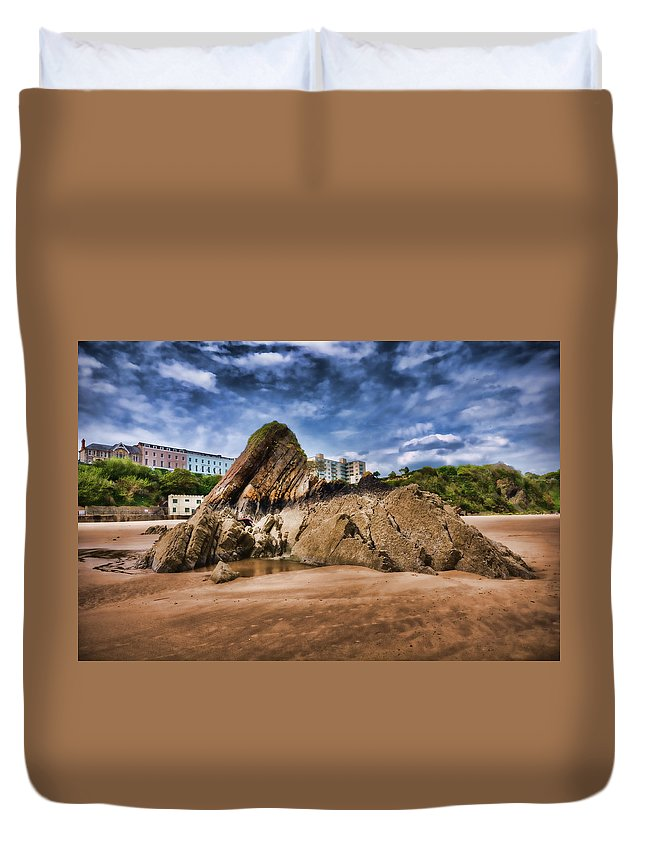 Goscar Rock Tenby Duvet Cover featuring the photograph Goscar Rock Tenby 4 Painted by Steve Purnell