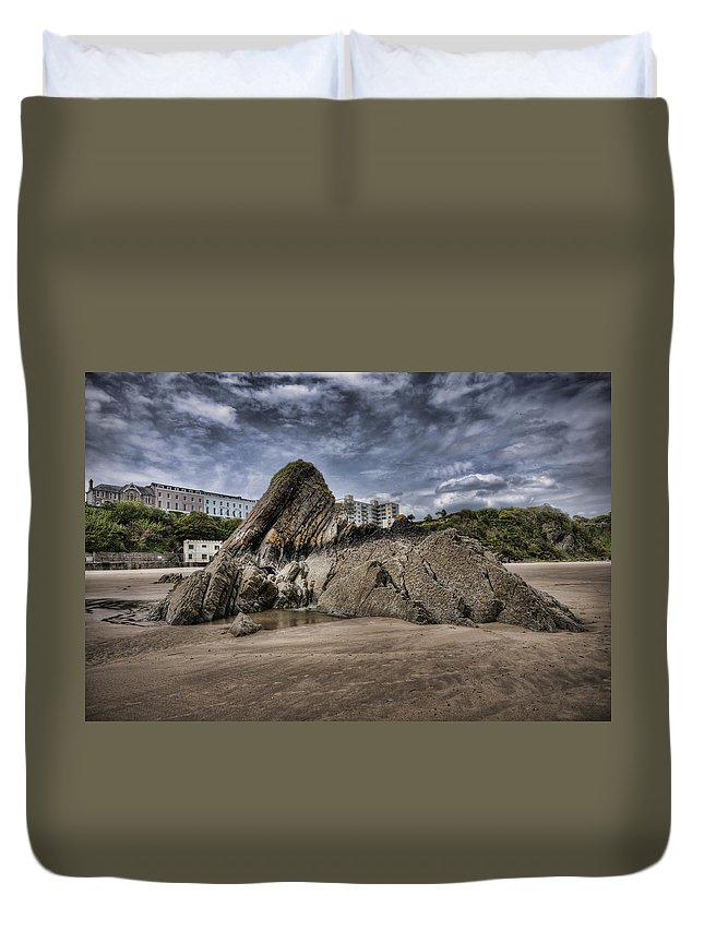 Goscar Rock Tenby Duvet Cover featuring the photograph Goscar Rock Tenby 4 by Steve Purnell
