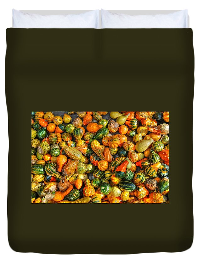 Fall Duvet Cover featuring the photograph Gourdgeous by Beth Gates-Sully