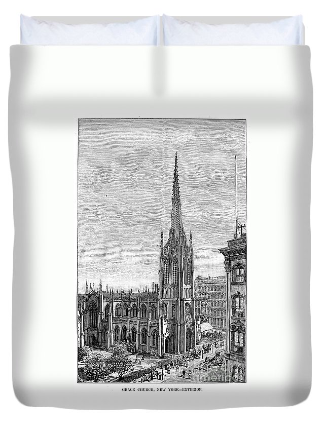1883 Duvet Cover featuring the photograph Grace Church, 1883 by Granger