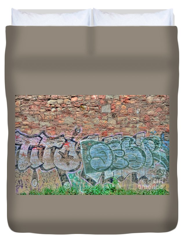 Graffiti Duvet Cover featuring the photograph Graffiti by Kathleen Struckle