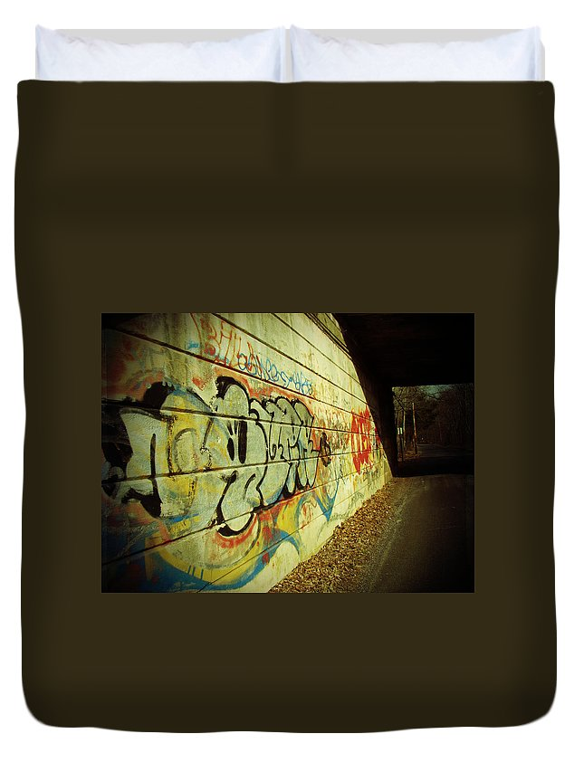 Graffiti Duvet Cover featuring the photograph Graffiti Under The Bridge by Mother Nature
