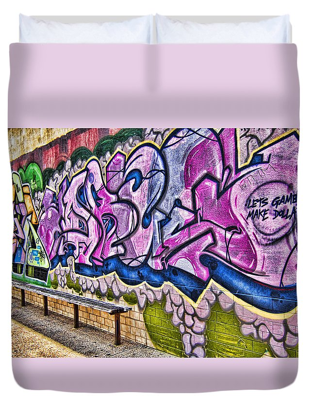 Graffitti Duvet Cover featuring the photograph Graffitti-lets Gambl Make Dollars by Douglas Barnard