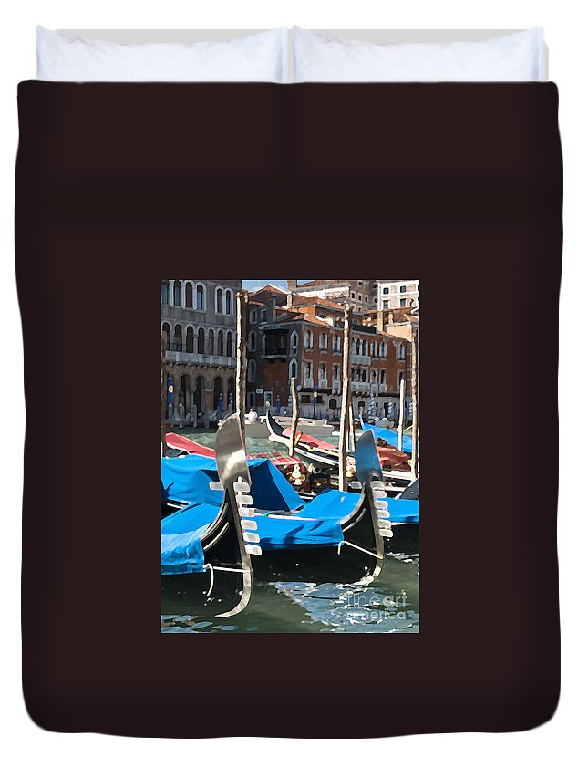 Sea Duvet Cover featuring the photograph Grand Canal Gondolas Painting by Jim Chamberlain