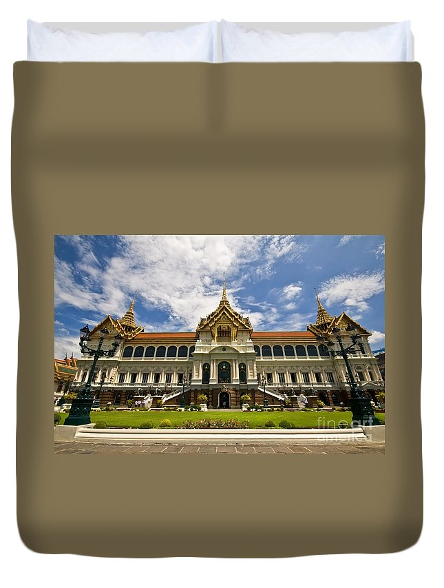 Grand Palace Duvet Cover featuring the photograph Grand Palace Chakri Mahaprasad Hall Front View Bangkok by Charuhas Images