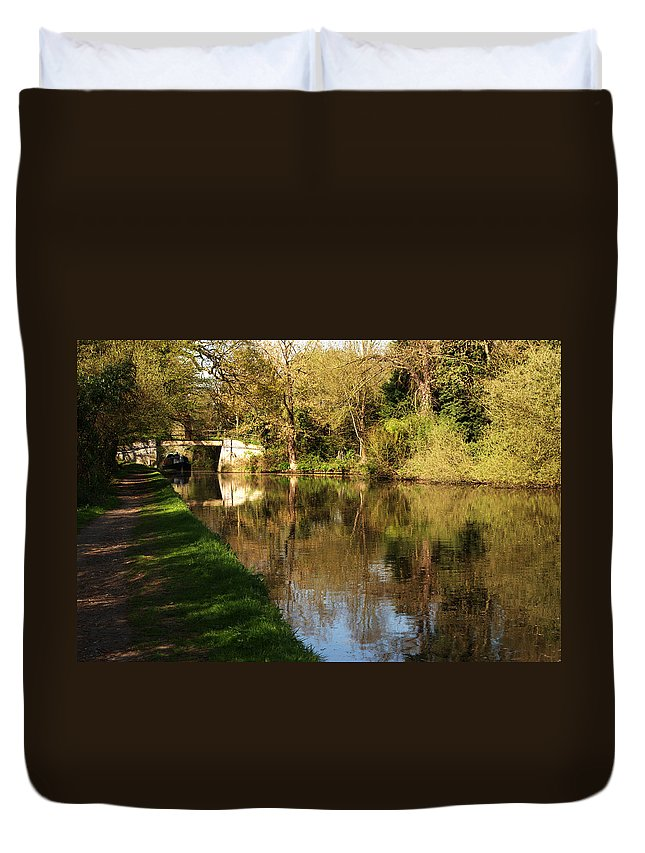 Grand Union Canal Duvet Cover featuring the photograph Grand Union Canal Near Denham by Chris Day