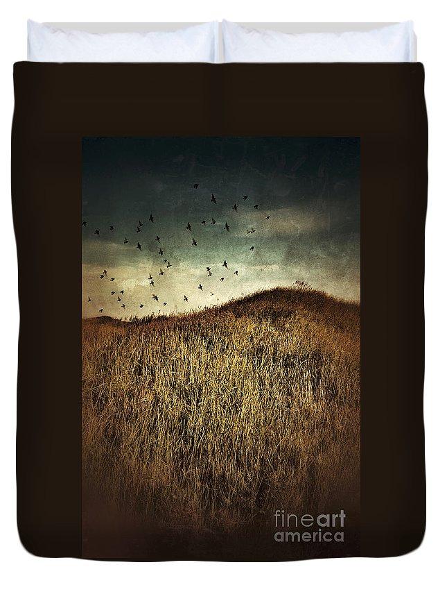 Grass Duvet Cover featuring the photograph Grassy Hill Birds In Flight by Jill Battaglia
