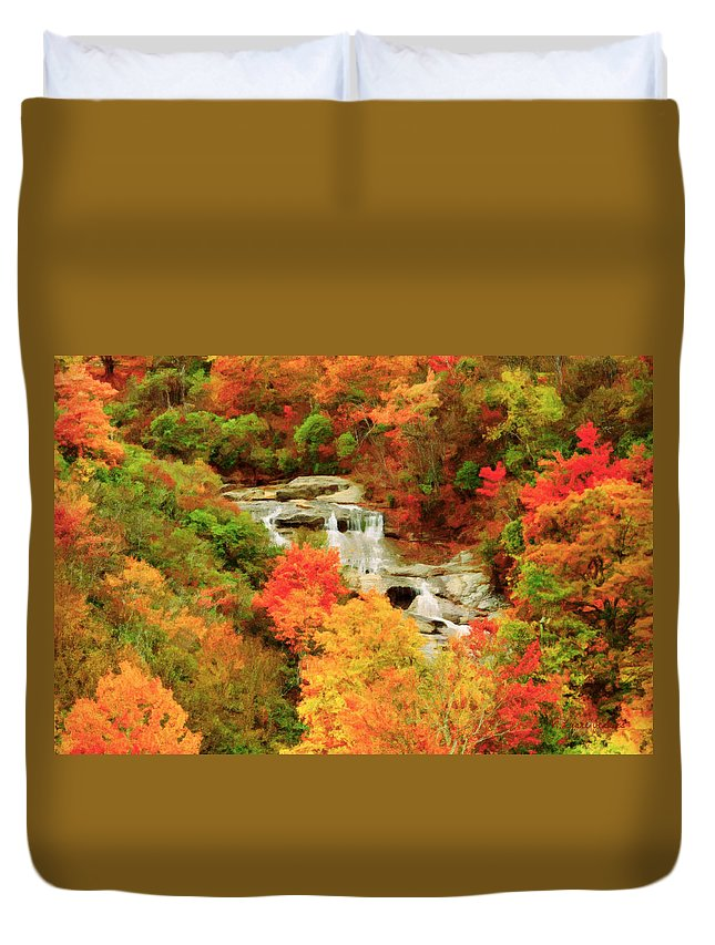 Blue Ridge Parkway Duvet Cover featuring the painting Graveyard Fields Lower Falls by Lynne Jenkins