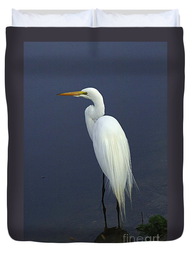 Majestic Great Egret Duvet Cover featuring the photograph Great Egret 2 by Bob Christopher