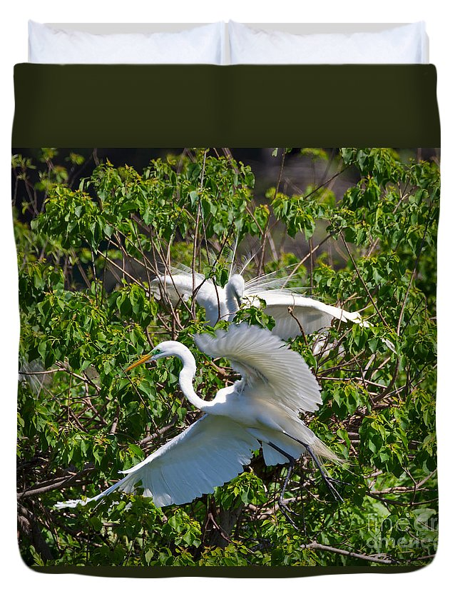 Egret Duvet Cover featuring the photograph Great Egret In Flight by Louise Heusinkveld