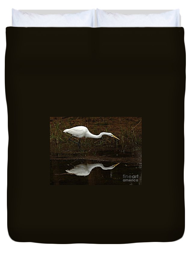White Egret Duvet Cover featuring the photograph Great Egret Reflection 2 by Bob Christopher