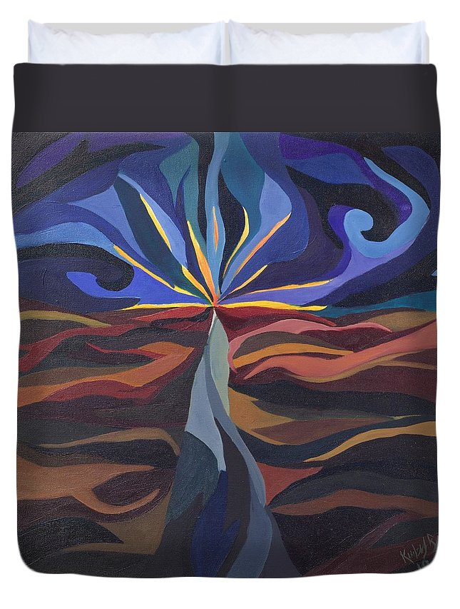 Light Duvet Cover featuring the painting Great Light Dawns by Kimberly Riggs
