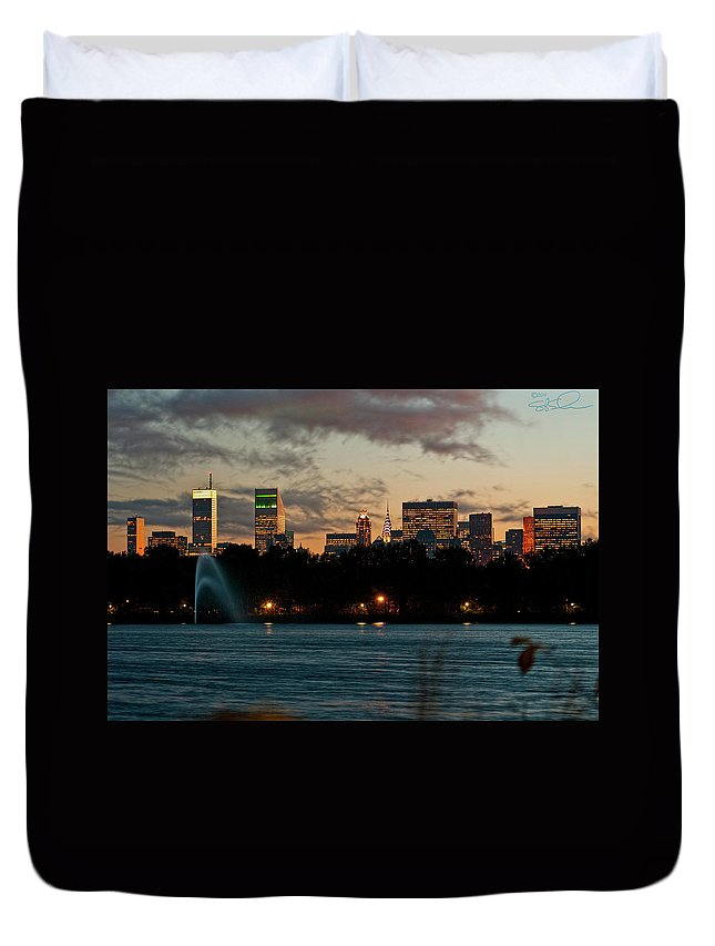 Central Park Duvet Cover featuring the photograph Great Pond Fountain by S Paul Sahm