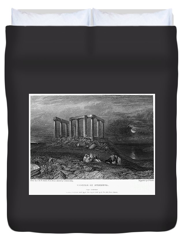 1832 Duvet Cover featuring the photograph Greece: Cape Sounion, 1832 by Granger