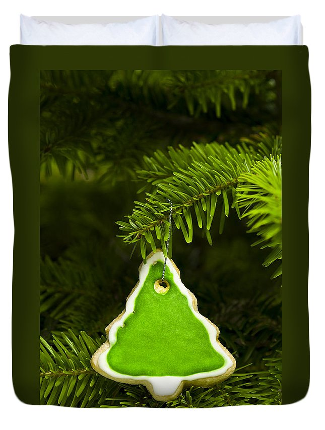 Background Duvet Cover featuring the photograph Green Branches Of A Christmas Tree by U Schade