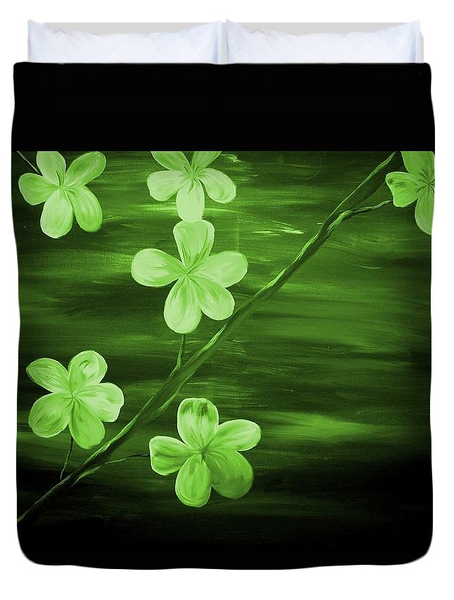 Mark Duvet Cover featuring the painting Green Cherry Blossom by Mark Moore