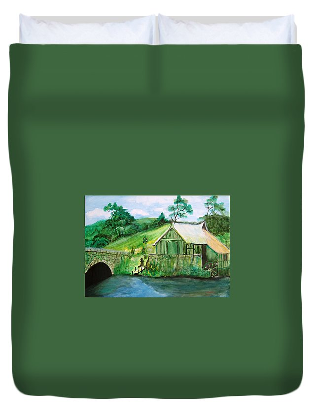 Green Duvet Cover featuring the painting Green Cottage by Manjiri Kanvinde