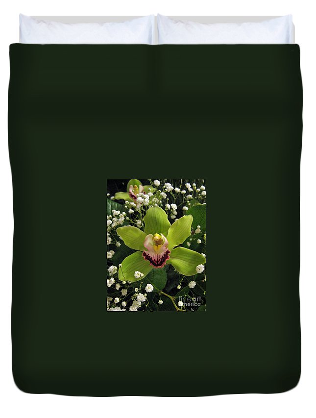 Flower Duvet Cover featuring the photograph Green Orchid In Baby's Breath by Ausra Huntington nee Paulauskaite
