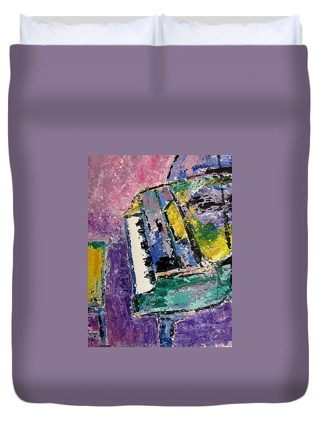 Music Duvet Cover featuring the painting Green Piano Side View by Anita Burgermeister